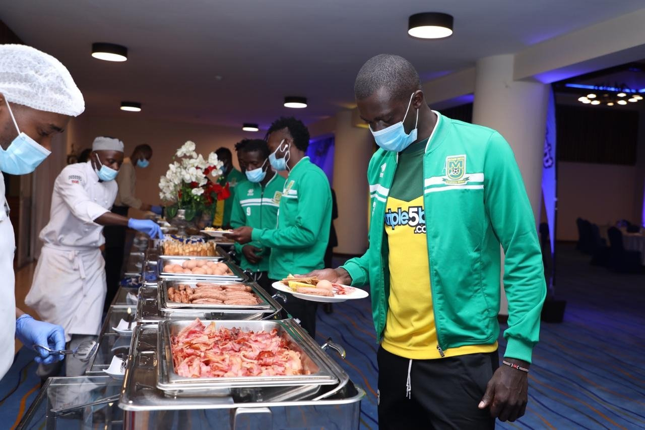 Mathare United players at an event to launch a new shirt sponsorship deal with Triple5 Bet on December 1, 2020