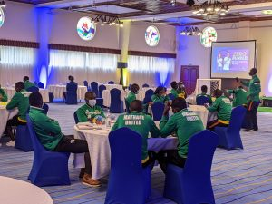 Mathare United players at a Nairobi hotel for the launch of a shirt sponsorship deal with Triple5 Bet on December 1, 2020