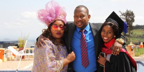 (L-R) Primrose Mbuvi, Nairobi Governor Mike Sonko and Saumu Sonko pictured during a past celebration. A 2018 trip to New York by Primrose and Saumu is being cited as evidence in impeachment proceedings against the Governor.
