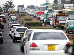 Vehicles pictured in traffic in Nairobi. The government has warned Kenyans against travelling to visit family for Christmas.