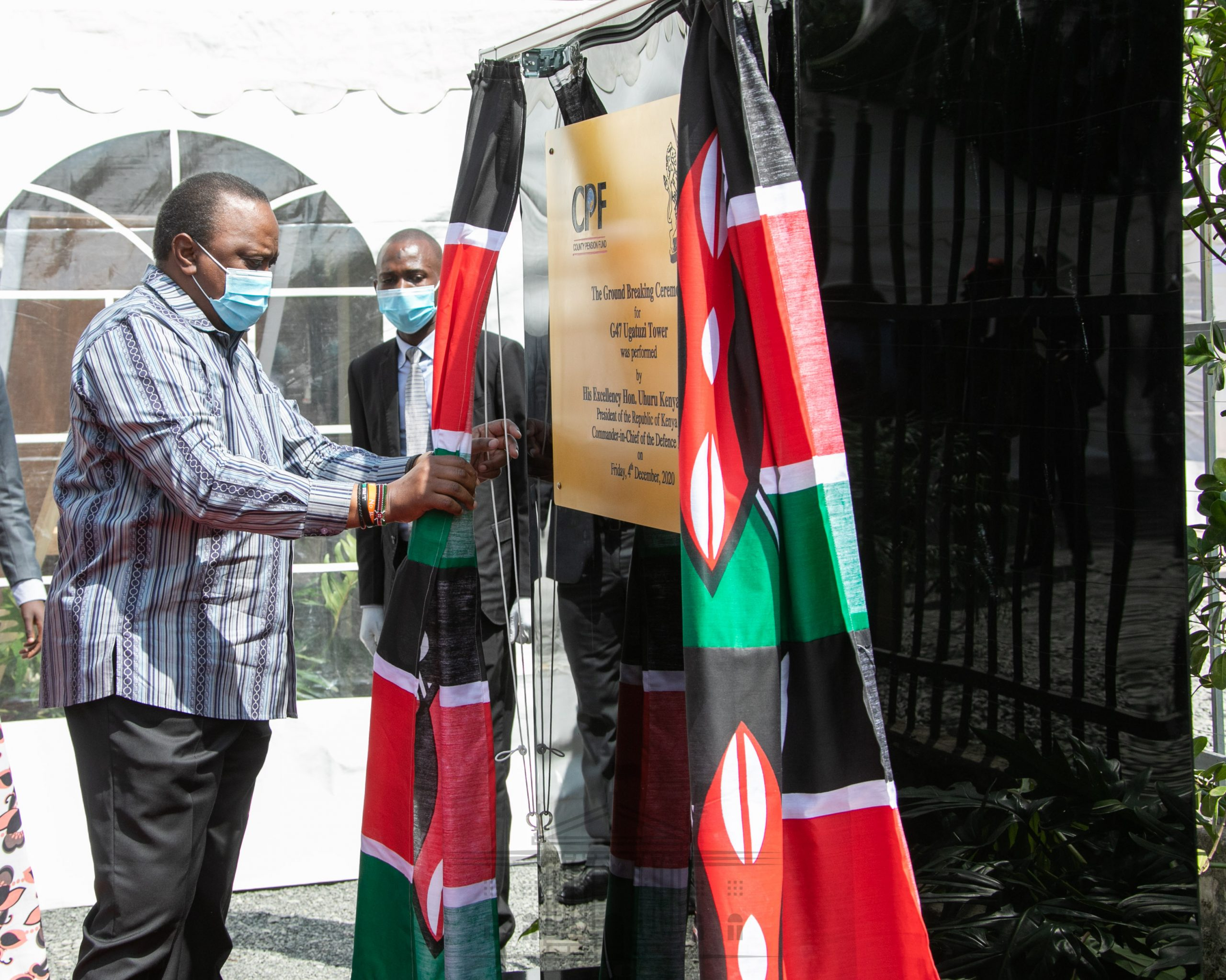 President Uhuru Kenyatta at a groundbreaking ceremony for the G47 Ugatuzi Tower. The 5-0-storey tower could become Africa's tallest building once complete.