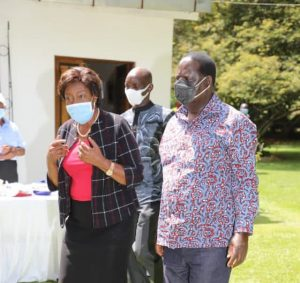 ODM leader Raila Odinga and Kitui Governor Charity Ngilu at the launch of an affordable housing project on December 14, 2020