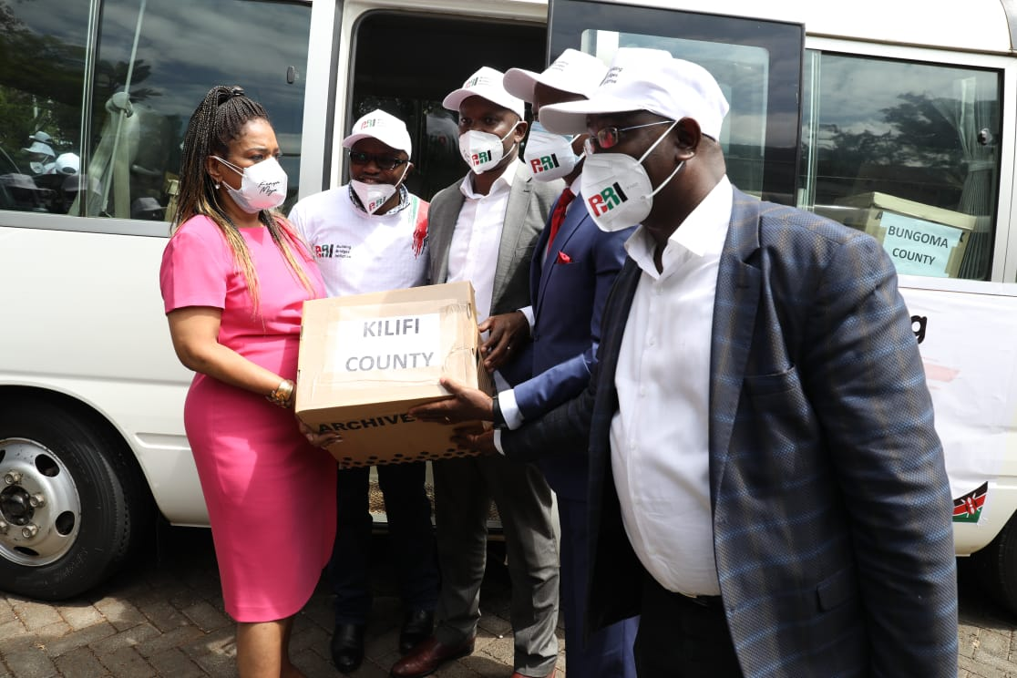 Building Bridges Initiative (BBI) backers deliver signatures to IEBC headquarters in Nairobi on December 10, 2020.