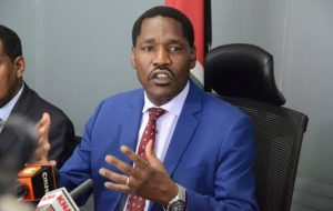 Agriculture CS Peter Munya addressing a past media briefing.
