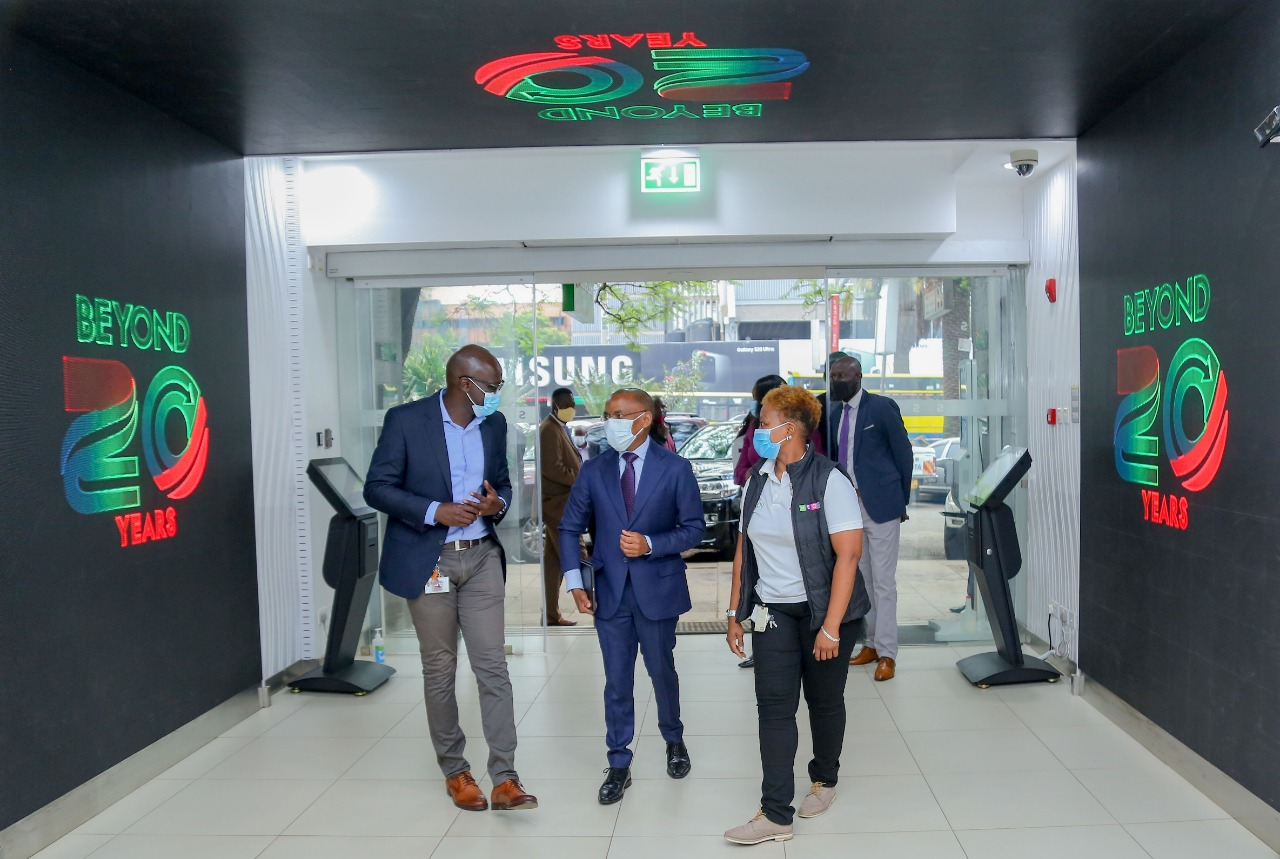 Safaricom CEO Peter Ndegwa entering the telco's Moi Avenue store on December 9, 2020.