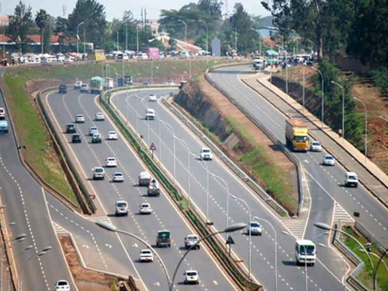 Vehicles pictured on Thika Superhighway in Nairobi
