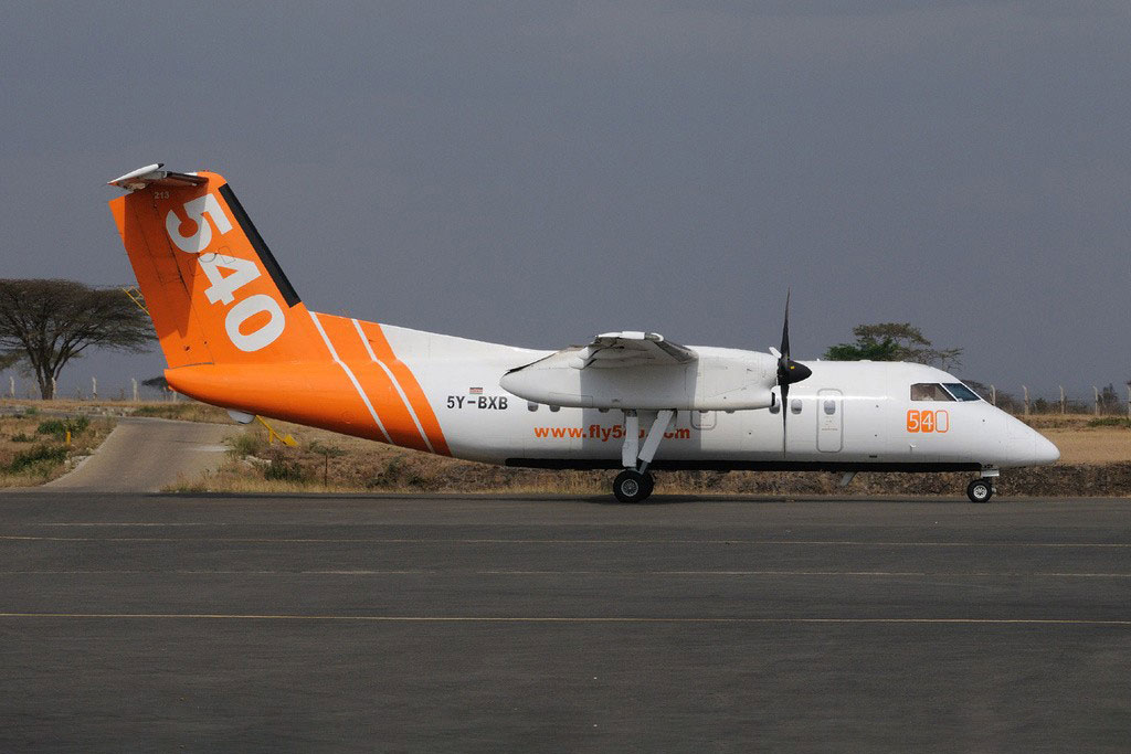 A Bombardier Dash 8 which forms part of Fly540's fleet.