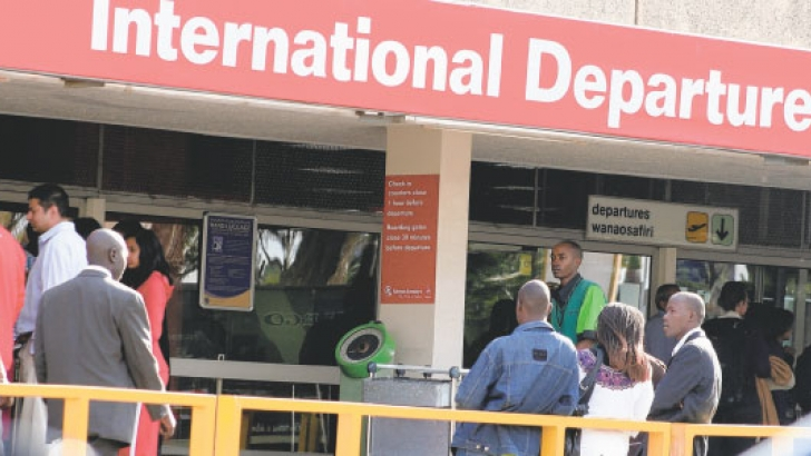 An international departures terminal at the Jomo Kenyatta International Airport (JKIA). Relaxed visa rules are expected to make it easier for Kenyans to work in the United Kingdom in the post-Brexit era.