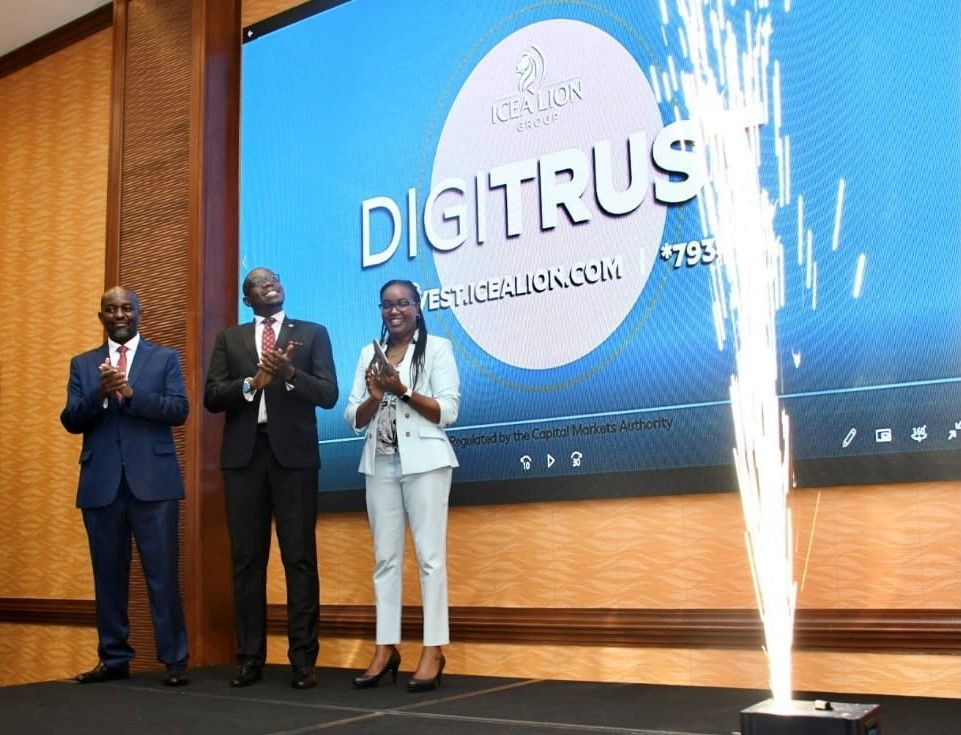 Nairobi Securities Exchange (NSE) CEO Geoffrey Odundo (centre) at the launch of Digitrust, an online money market fund from ICEA Lion Group, on Wednesday, January 13, 2021.