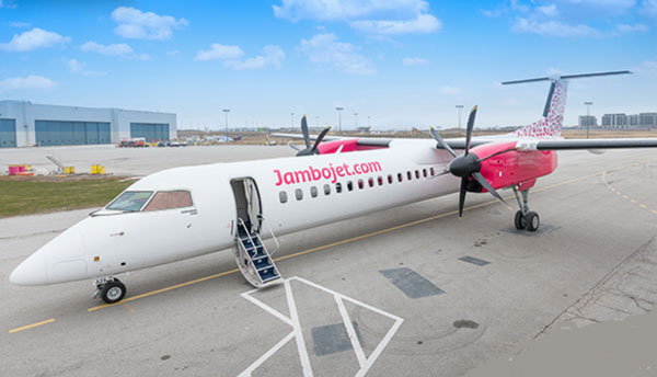 A Jambojet plane on a runway. The airline has introduced a three day sale to promote local travel.
