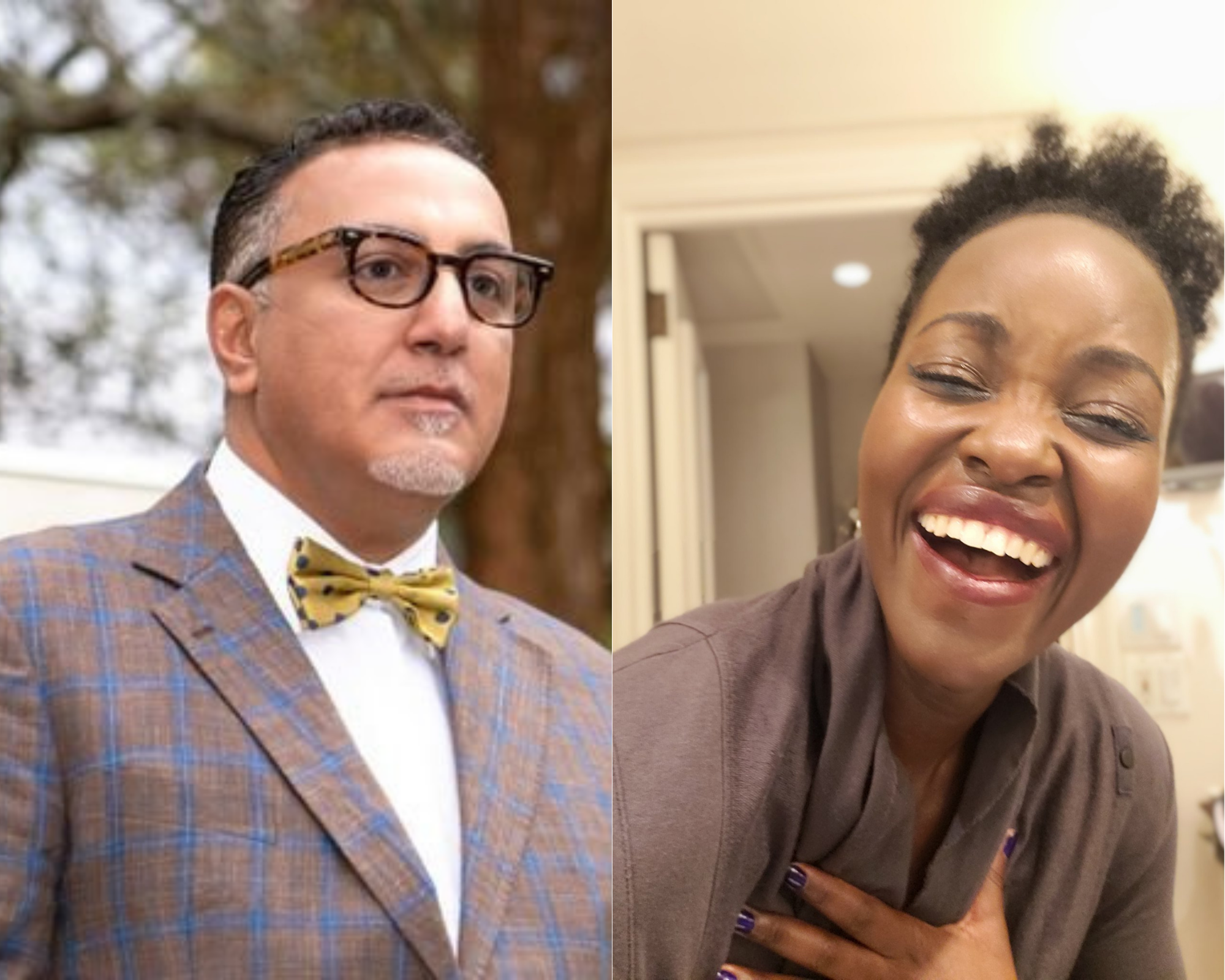 Tourism Cabinet Secretary Najib Balala (left) and actress Lupita Nyong'o. Lupita shared the image of herself laughing while responding to Balala's claims that she was inaccessible for five years as the ministry sought her out for an ambassadorial role.