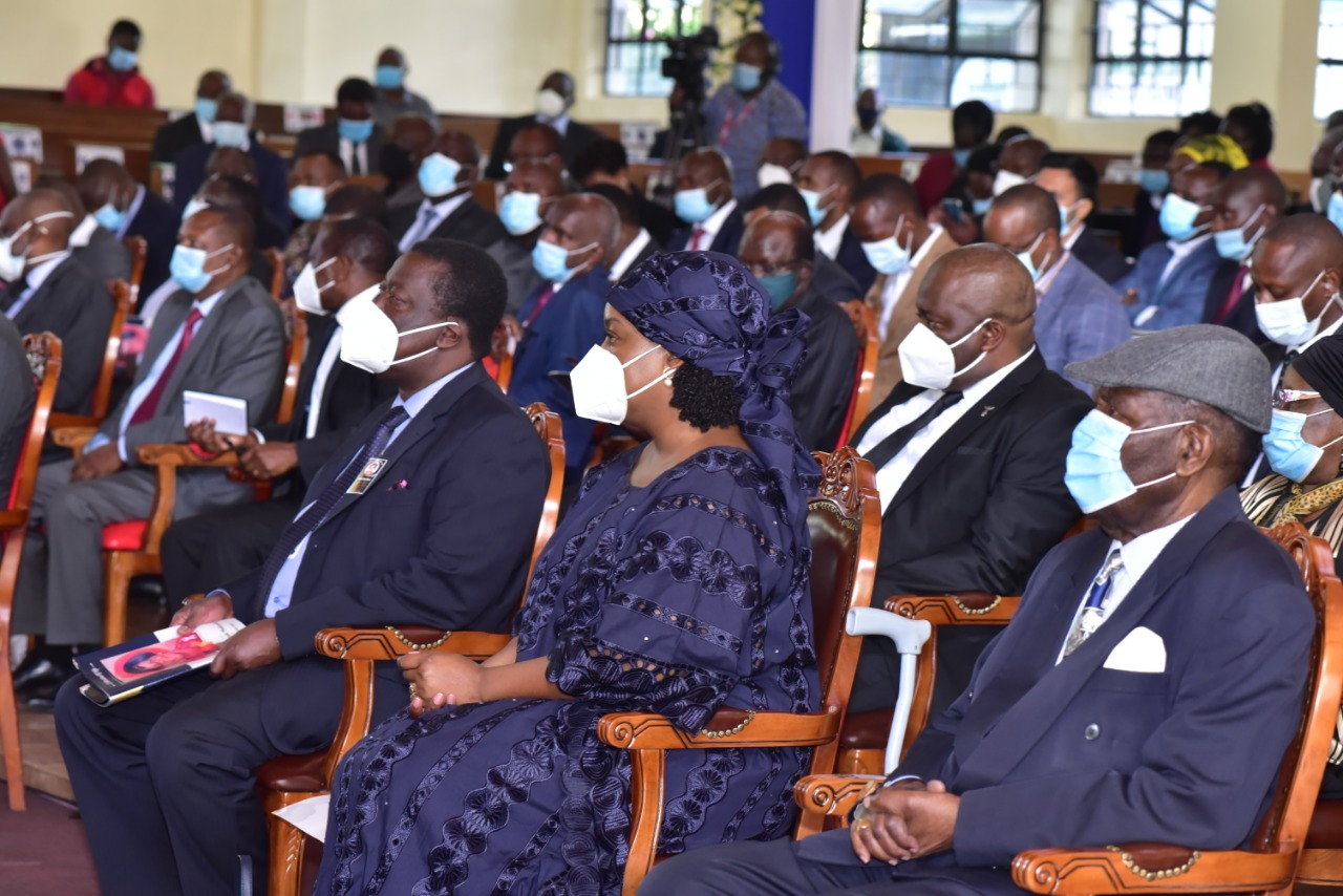 Musalia Mudavadi (far left) at a requiem mass for his late mother in Nairobi on January 7, 2021.