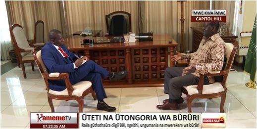 ODM leader Raila Odinga in an interview with Kameme TV on January 25, 2021.