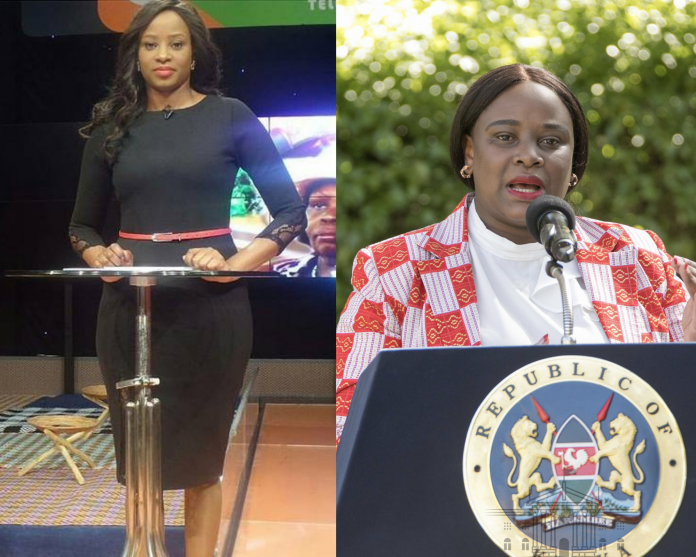 Kanze Dena on Citizen TV (left) and during a press briefing at Sagana State Lodge, Nyeri on January 29, 2021