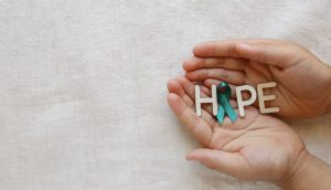 A message of hope sent using a Cervical Cancer ribbon as part of awareness efforts on the illness.