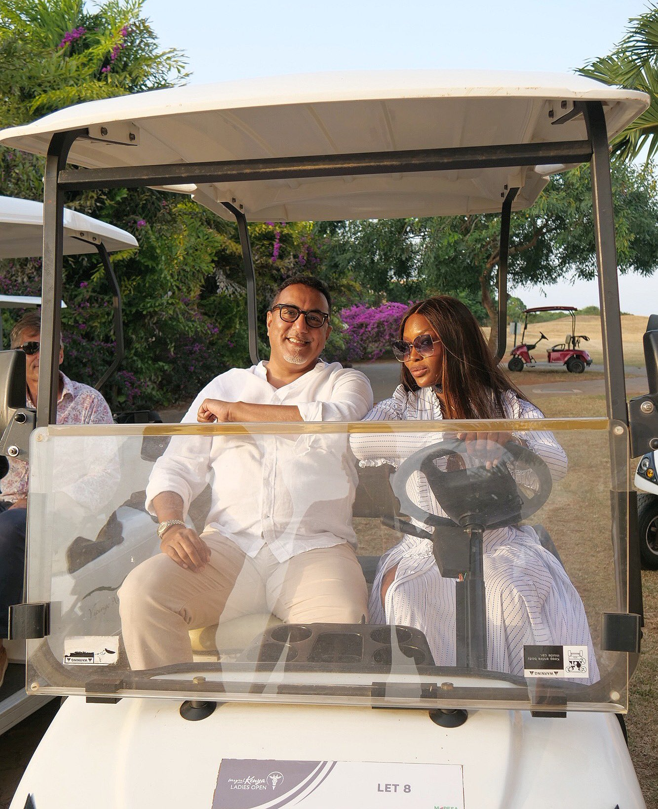 Naomi Campbell (right) with Tourism CS Najib Balala at the PGA Baobab course at Vipingo Ridge, Kilifi. She was unveiled as Magical Kenya International Tourism Ambassador on January 12, 2021.