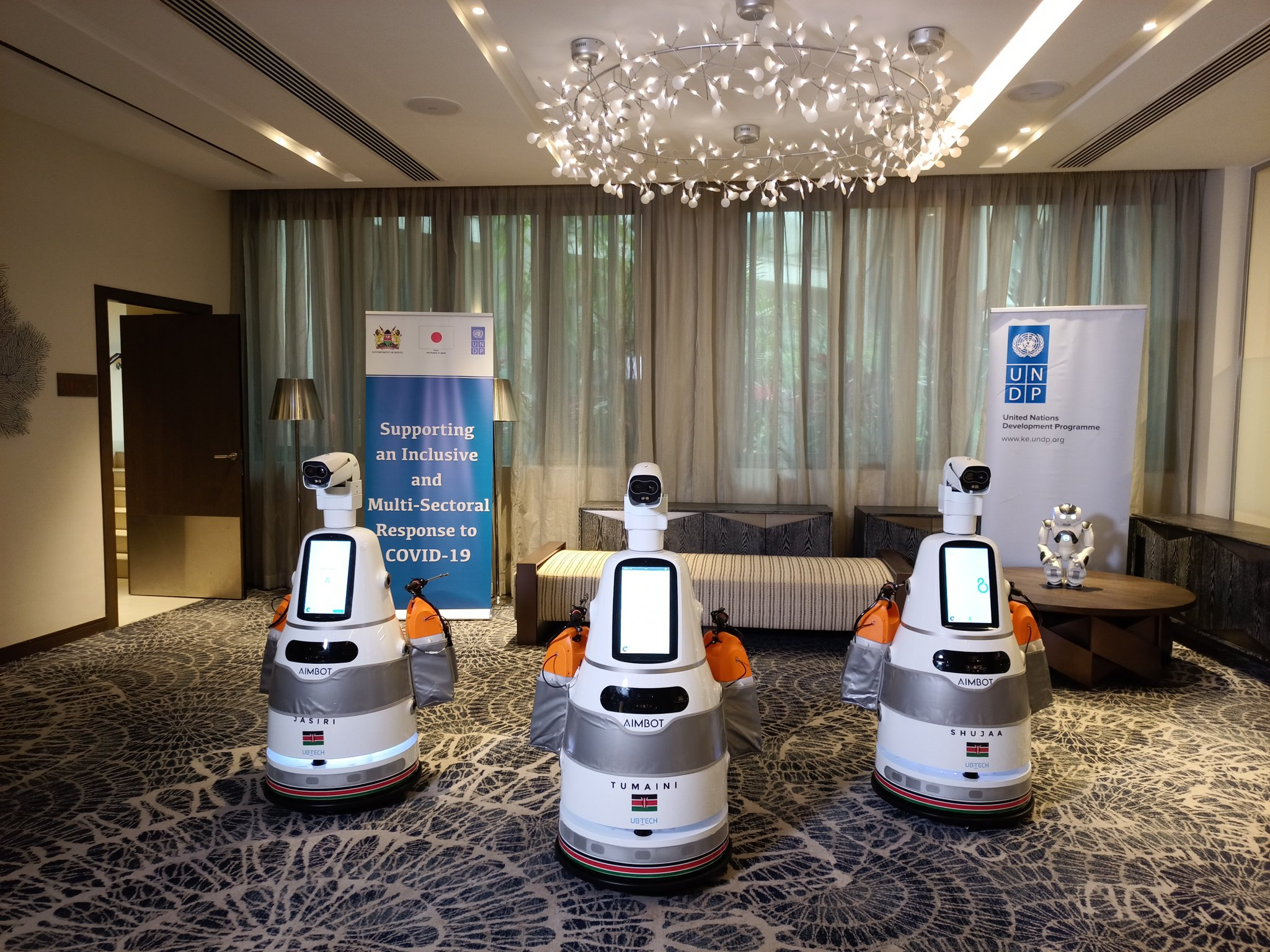 Three smart robots deployed to aid in the fight against the Covid-19 pandemic in Kenya on January 21, 2021.