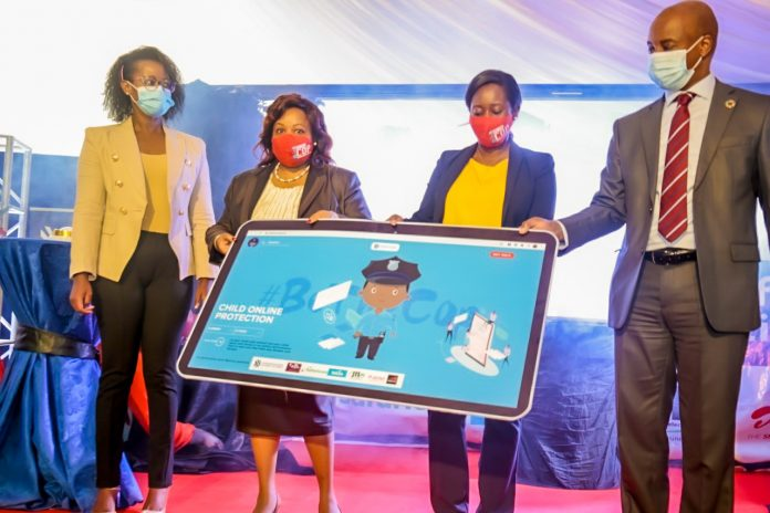 Caroline Simba, Head of Legal, Jamii Telecom, Ag. Director General, Mercy Wanjau, Communications Authority of Kenya, Chief Adminstrative Secretary, ICT, Maureen Mbaka and Steve Chege, Chief Corporate Affairs Officer, Safaricom launch an interactive portal for safer online environment at CA centre, Nairobi.