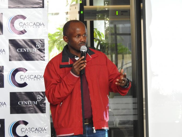 Centum Group CEO Dr. James Mworia addressing participants during the Cascadia Open Day at Two Rivers, Nairobi on February 24, 2021.