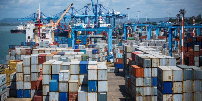 Shipping containers at the Port of Mombasa