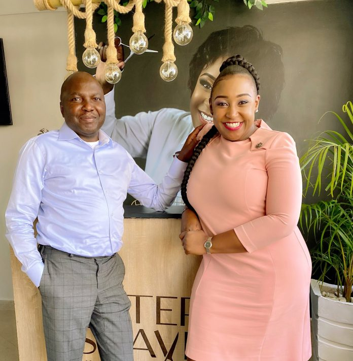 Lawyer Donald Kipkorir (left) with Betty Kyallo at her barber shop in Upper Hill, Nairobi on February 4, 2021