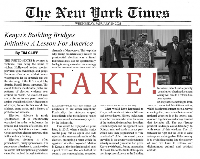 New York Times Fake Page