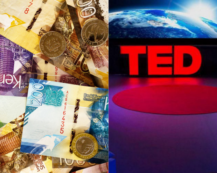 Kenyan bank notes and coins of different denominations juxtaposed with a TED stage