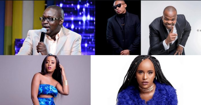 Celebrities including Churchill, Otile Brown, MC Jesse, Nadia Mukami and Femi One