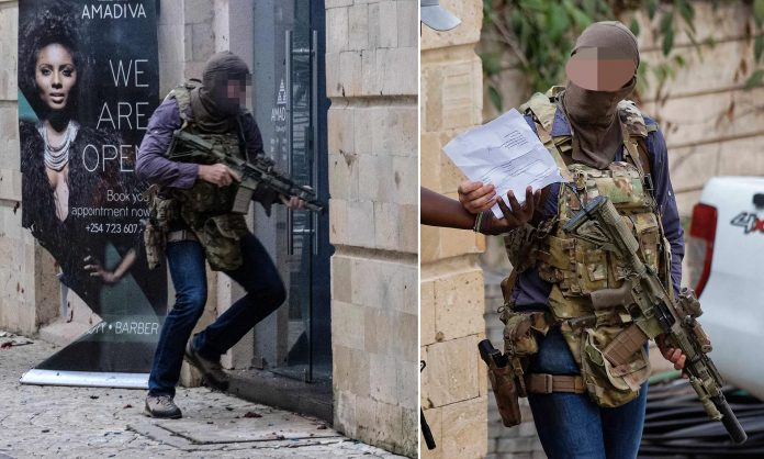 The now famous images of UK SAS officer Chris Craighead at the Dusit D2 complex during a terror attack in 2019
