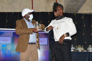 Comedian Flaqo receiving his ADIA award on February 1, 2021