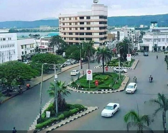 A view of a section of the Kisumu Central Business District (CBD). The county has banned all motorized transport in the CBD.