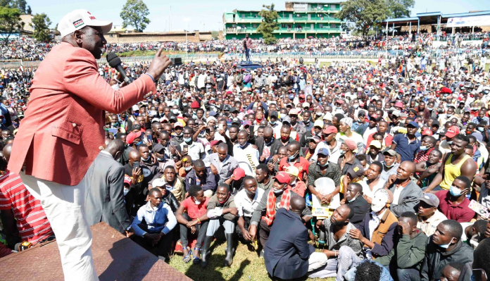 Deputy President William Ruto addressing a recent rally in Bomet. A new bill seeks to classify the 'Hustlers vs Dynasties' narrative he is accused of popularizing as hate speech.