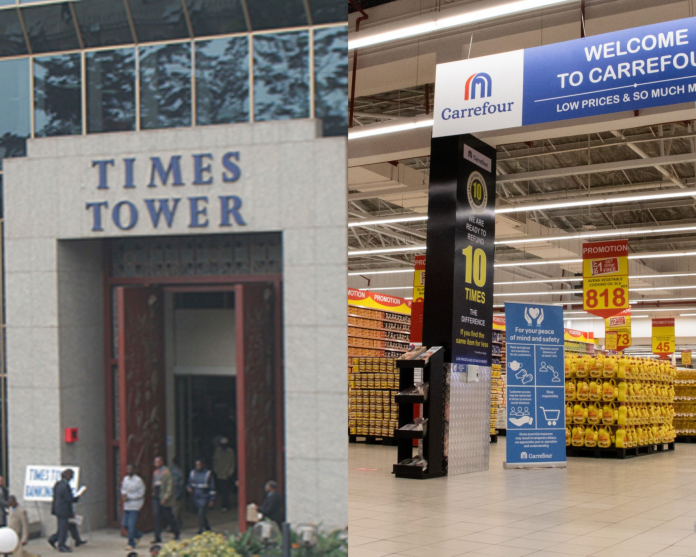 KRA's Times Tower Headquarters (left) and a Carrefour outlet. KRA has accused the French retail chain of failing to provide documents to support a claim of tax refund of Sh523 million.