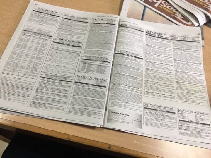 Auction notices in a Daily Nation newspaper published on March 15, 2021. Many of the notices have been published multiple times as uptake remains low.