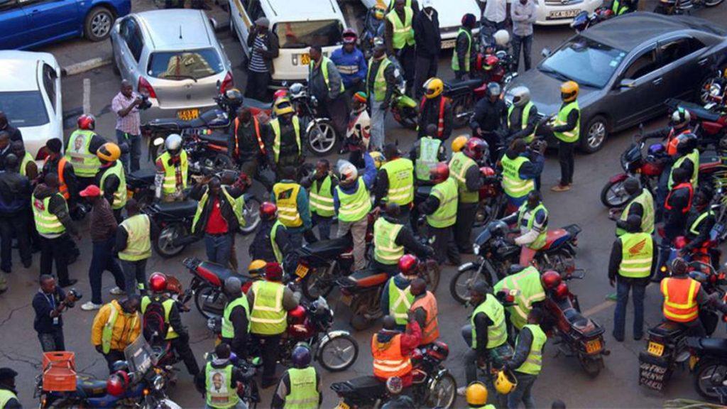 Boda boda riders pictured in Nairobi