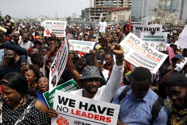 Nigerians demonstrate against police brutality during the End Sars protests. Business continuity planning needs to proactively address political violence risks, particularly in highly-exposed sectors such as retail.