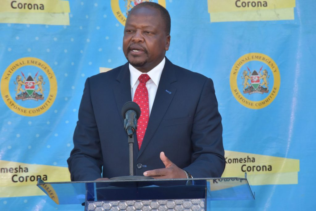 Health CS Mutahi Kagwe. He has emphasized the role of social protection programmes' to ease economic challenges associated with the Covid 19 pandemic.