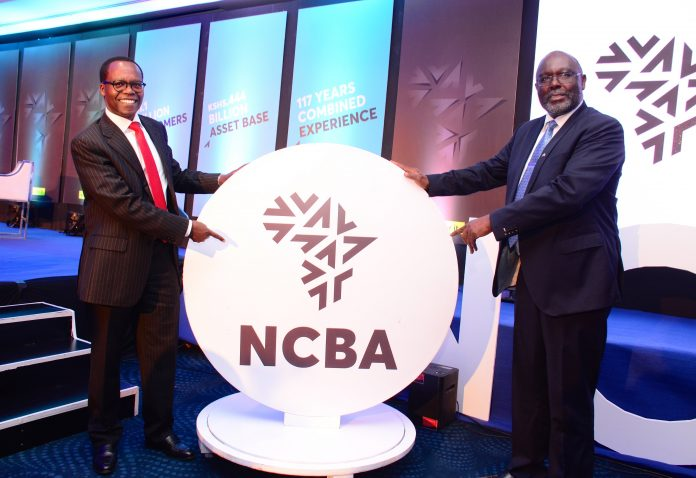 NCBA Bank Kenya PLC chairman Isaac Awuondo with group managing director John Gachora during the unveiling of NCBA group new logo in 2019. The firm released its first full year results since the merger on March 29, 2021.