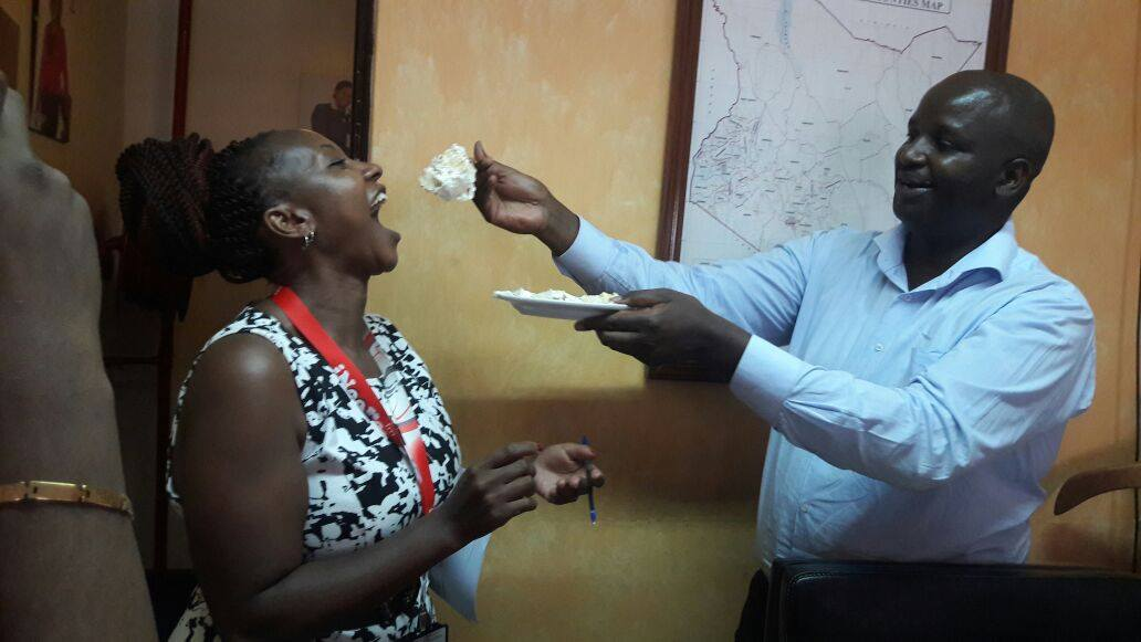 Radio Citizen Managing Editor Robin Njogu (right) during a birthday party in 2017. He was always the first to biggest stories.