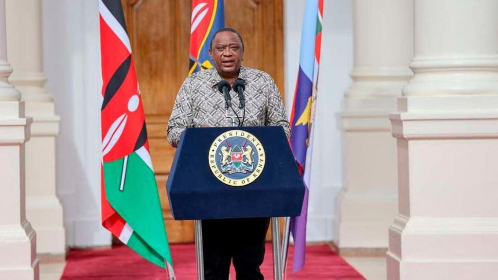 President Uhuru Kenyatta delivering a past address at State House, Nairobi. He announced tough new measures meant to curb the heightened spread of Covid-19.