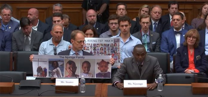 Paul Njoroge providing testimony the U.S House Subcommittee on Aviation in 2019. The Kenyan banker based in Bermuda lost 5 family members on Ethiopian Airlines Flight 302.