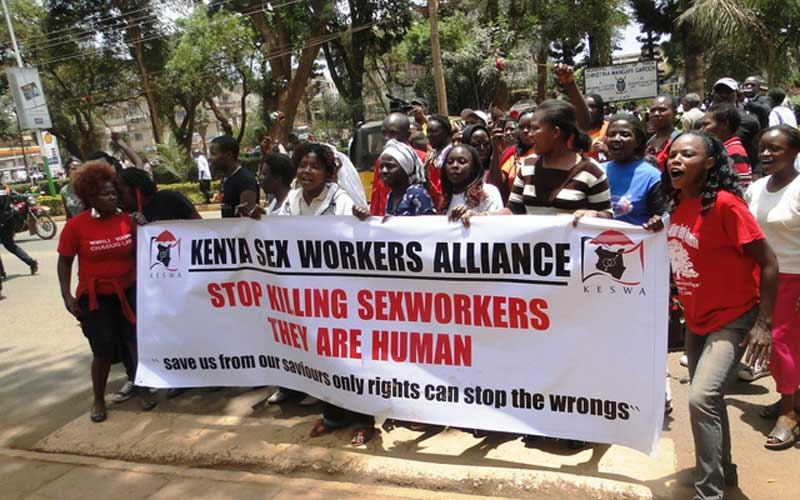 A past protest in Kenya led by sex workers. Due to the nature of their work, sex workers remain at high risk of contracting Covid-19.