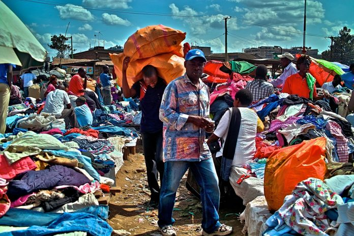 Second hand clothes traders at a market in Nairobi
