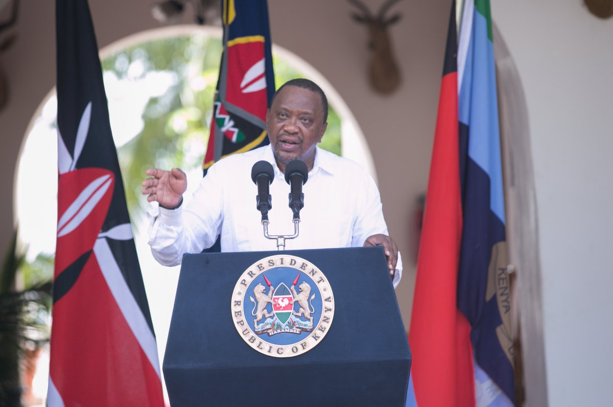 President Uhuru Kenyatta delivering a past address. He has urged Kenyans to maintain strict compliance with Covid-19 protocols.