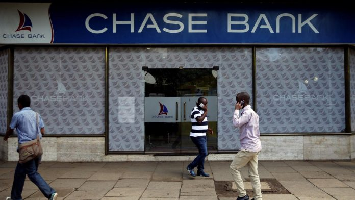 A Chase Bank branch in Kenya. CBK has tasked the Kenya Deposit Insurance Corporation (KDIC) with liquidation of the lender which has been under receivership since 2016.