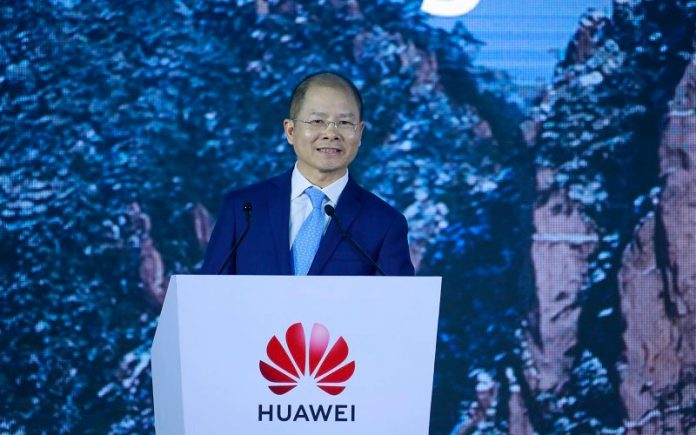 Eric Xu, Huawei's Rotating Chairman, delivers a keynote speech at the 18th Global Analyst Summit