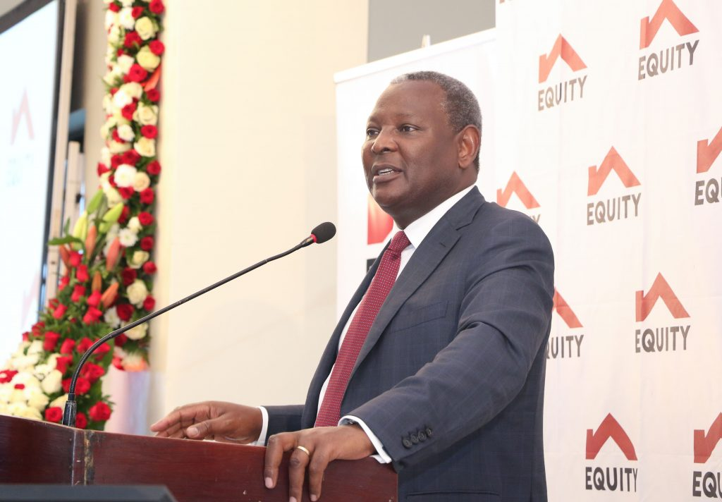 Equity CEO James Mwangi. During the review period, only 3% of the bank's transactions happened on fixed cost brick and mortar branch and ATM infrastructure.