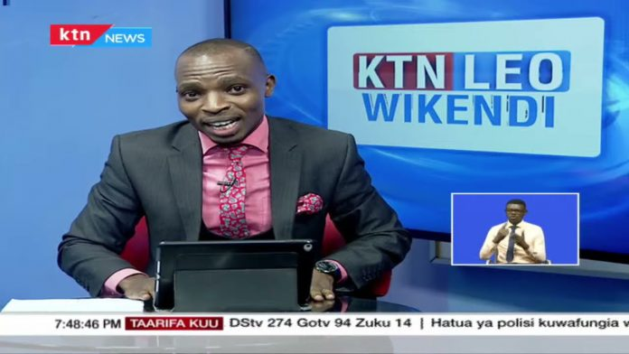 Lofty Matambo announcing his exit from KTN during a live broadcast on April 18, 2021. He is rumoured to be headed to NTV.