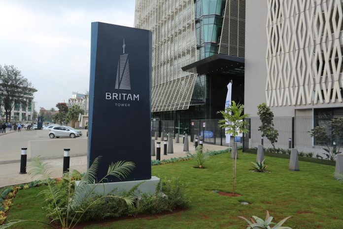 Britam Tower in Upperhill, Nairobi. The regional insurer took a hit from losses in its investment portfolio for the 2020 full year.