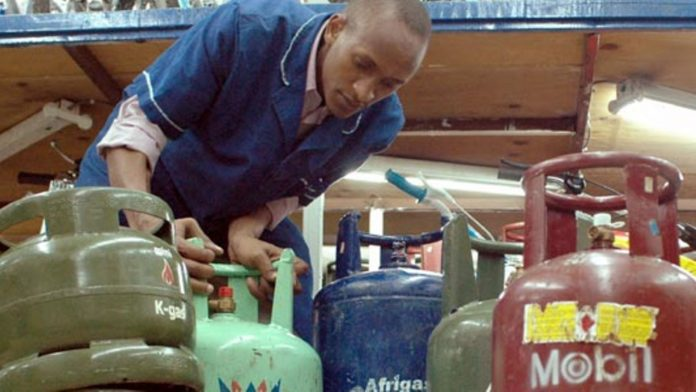 A cooking gas vendor in Nairobi. LPG prices in Kenya are set to rise by up to Ksh350 from July 1, 2021.